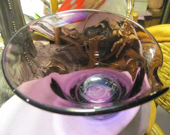 Vintage Plum Purple Hand Blown Bowl
