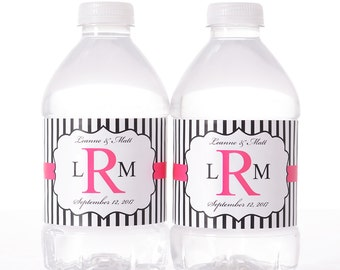 Wedding Water Bottle Labels - 30 Personalized Wedding Water Bottle Labels - Wedding Bottle Wraps - Personalized Bottled Water Labels