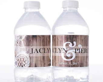 """30 Rustic Wedding Water Bottle Labels - Need a different quantity? Click on the """"choose total"""" tab to see all pricing"""