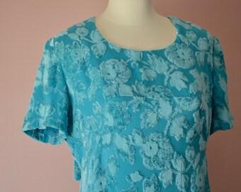 Elegant Evening Gown. 1960's Sparkly Aqua Maxi Dress. Velvet Burnout Evening Gown. Size Modern Medium Large - VDS78