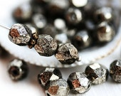 30pc Black Metallic beads, Goldish luster, Fire polished 6mm rounds, czech glass spacers, faceted beads - 1830