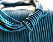 1.5mm Round Natural Leather cord - Dark Teal - 10 feet, LC015