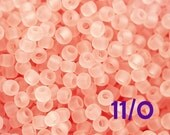 TOHO Pink Seed beads, size 11/0, Transparent Frosted Rosaline, N 11F, pink glass beads - 10g - S063