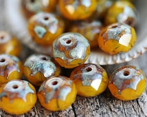 Picasso beads, Yellow Ocher Czech glass donuts, rondelle, gemstone cut, fire polished, red beads - 6x8mm - 12Pc - 2651