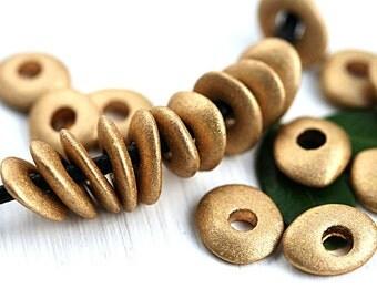 Golden ceramic beads, Cornflake shape, Metallic greek rondelle beads, donut, washer, 10mm - 20pc - 2766