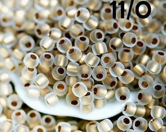 Golden Seed beads, Toho beads, size 11/0, Frosted Gold Lined Crystal N 989F - 10g - S458