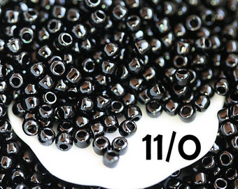 Black Seed beads, Toho beads, size 11/0, Opaque Jet  N 49, black beads, rocailles - 10g - S537