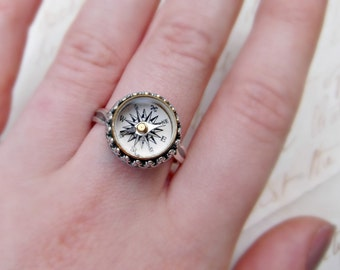 Wanderlust Working Antique Compass Sterling Silver Dainty Ring