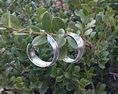 Vintage Sterling Silver Feather Hoop Earrings Native American