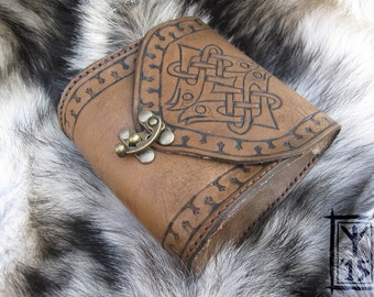Custom leather belt pouch, brown with Celtic birds design