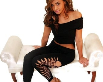 New Ankle Length Womens Black Side Cut Leggings
