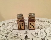 Salt and Pepper shakers rusty prim  housewarming gift prim kitchen country kitchen faux finish kitchen decor cabin  handmade ready to ship