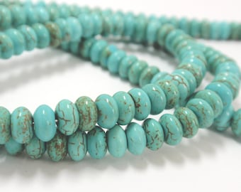 "Turquoise Blue Magnesite Rondelle Beads, 6mm Magnesite Gemstone Beads, 13"" Strand - 91 Beads"