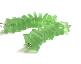 PRICE REDUCED!   Lt Green Recycled Glass Beads Center Drilled for Jewelry Making, Center Drilled Recycled Glass - 1 Set of 10 pcs