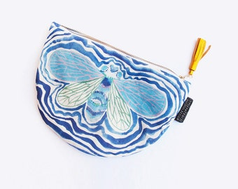 Unique Cicada Dumpling Clutch Purse with Hand Painted Abstract Fabric and Leather Tassel
