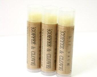 SHOP CLOSING SALE Coffee Clove Lip Balm . Cocoa Butter and Beeswax . 100% Natural Lip Balm . Tube Lip Balm