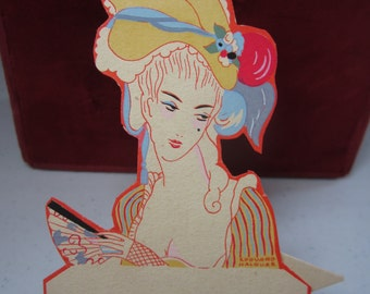 Gorgeous unused die cut hand colored 1920's french art deco pochoir place card deco lady dressed as marie antoinette artist Edward Halouze