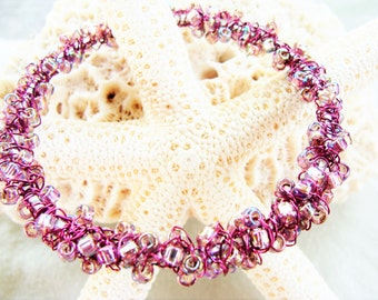 Wire Crocheted and Wire Wrapped Silvertone Bangle Bracelet with Translucent Pink AB Seed Beads