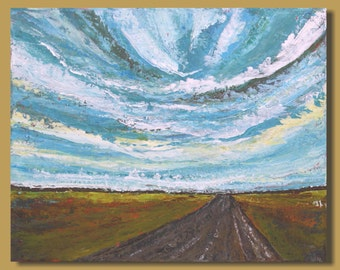 painting of a road, semi abstract painting, abstract landscape painting, small wall art, impressionist clouds, green and blue pastoral 16x20