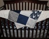 Baby Blanket - Navy Buck, Ecru Chevron, Weathervanes, Ivory Crushed Minky, and Navy Minky Patchwork Baby Blanket