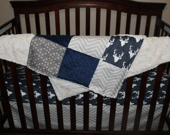Baby Blanket - Navy Buck, Ecru Chevron, Weathervanes, Ivory Crushed Minky, and Navy Minky Patchwork Baby Blanket