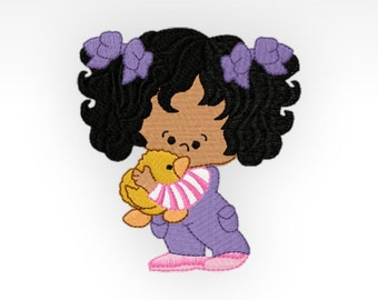 Little Girl - Machine Embroidery Design - Rainy Day Girl 8 - 4x4""