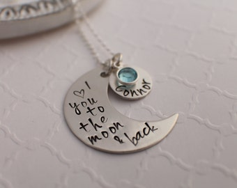 Personalized Hand Stamped Jewelry - Love You To The Moon And Back Necklace - Hand Stamped Sterling Silver - with kids names on it