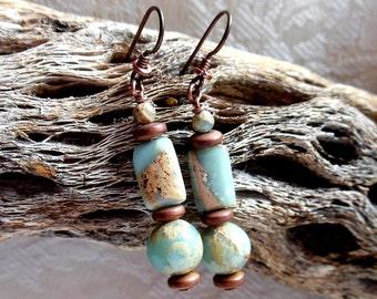 African opal earrings, ocean blue, tan, rust and brown earrings, antique copper earrings, niobium earrings, hypoallergenic wire earrings