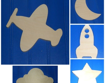 "Wooden Shapes - 7"" Size - Unpainted Wood - Wall Hanging Decor - Kids Crafts - DIY Project - Outer Space - Rocket - Solar System - Celestial"