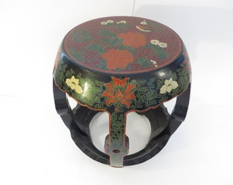 Vintage Chinoiserie Drum Stool Table - Gold Inlaid Black Lacquer Chinese Table