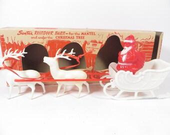 1950's Christmas Santa Claus and Reindeer - Mid Century Plastic Reindeer Barn and Santa Claus in Sled