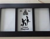 Custom hand painted weddings engagement gift disneyland disneyworld castle proposal Mickey ears Disney photo frame