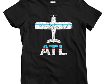 Kids Fly Atlanta T-shirt - ATL Airport - Baby, Toddler, and Youth Sizes - ATL Tee, Hartsfield Jackson, Travel, Gift - 2 Colors