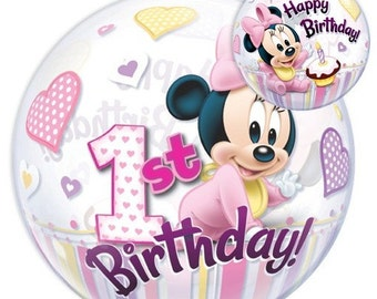 Minnie Mouse Theme First Birthday 22 inches Bubble Balloon
