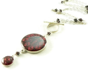 Orgone Energy Necklace - Nia Necklace - Celebrity Jewelry - Custom Necklace - Red Garnet Gemstone - Sterling Silver - Long Necklace - BOHO
