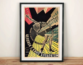 MAN With MOVIE CAMERA Poster: Classic Russian Film Poster Reprint Art Wall Hanging