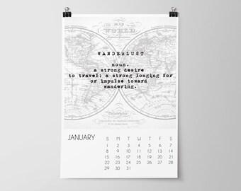 SALE, 2017 Travel Calendar, Desk Calendar, Office Decor, Gift for Him, Vintage Maps, Home Decor, Wall Calendar, Monthly Calendar