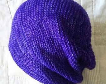 Hand knit hat, purple wool hat, superwash wool beanie, merino hat, blue knit hat
