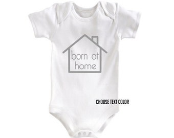 Born at home bodysuit. Newborn or 0-3 months. Pink gray black - house - Baby Infant. Home Birth Outfit Homebirth creeper / romper.