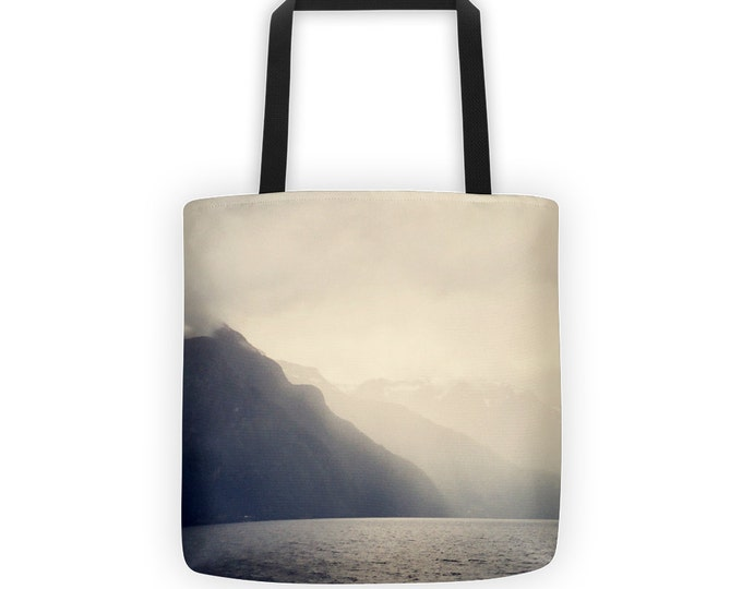 Lake Mountain Wanderlust Tote, Ombre Market Bag Tote in Ombre Cream to Gray, Monochromatic Tote for Eco Friendly Reusable Market Bag
