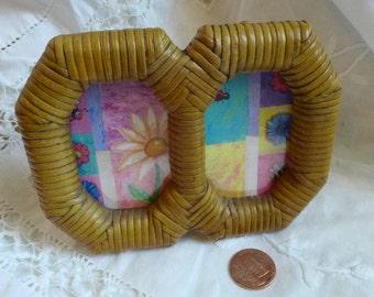 Mini Rattan Double Frame Octagon natural Wicker Rattan  overall  jungalow  Tiki hut