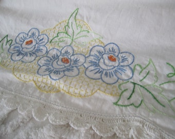 Vintage Handmade Pillowcase Set Blue Yellow Embroidered Floral  Crochet Edging Cottage Farmhouse Prarie