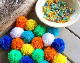 Pom Poms, Pom Pom Garlands, Assorted Colors, Yarn Pom Poms, Handmade Pom Poms, Assorted Yarn Pom Poms 12