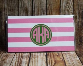 AKA Sorority Checkbook Cover, 24 Colors, Personalized Checkbook Cover, Custom Checkbook Cover, Vinyl Checkbook Cover