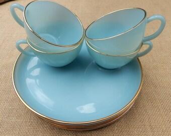 Fire King Delphite Blue Snack Sets  (4)  Fire King Azurite Blue Milk Glass Snack Sets  (4)  Fire King Robins Egg Blue Milk Glass Snack Sets