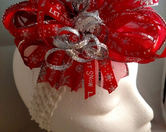 Christmas Red White and Silver Let It Snow Over-The-Top Hair Bow Hairbow