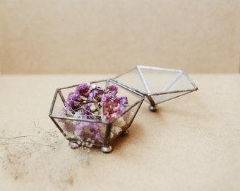 Vintage Glass Terrarium Pentagon Wedding Ring Bearer