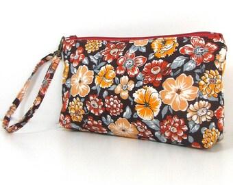 Trousse tissu coton fleuri N1
