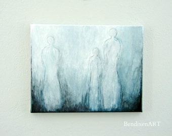 Modern Fine Art, Original Abstract Painting of Human Figures, Angelic Art, Wall Decor, Anniversary for Wife, Birthday for Her, Girlfriend