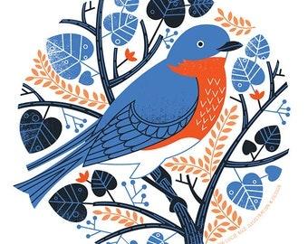 "Bluebird- 11""X11"" print"